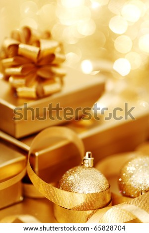 golden christmas - stock photo