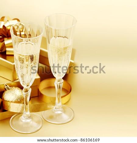 golden christmas background - stock photo