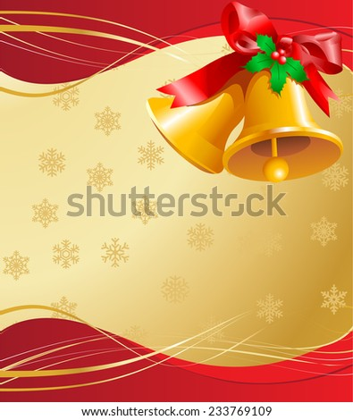Golden Christmas background with Bells and snowflakes. Raster version.    - stock photo