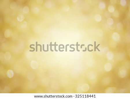 Golden christmas background with bokeh effect - stock photo