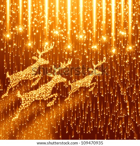 Golden christmas background with reindeer - stock photo