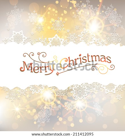 Golden Christmas background with snowflakes. Place for text. Raster version. - stock photo