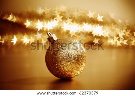golden christmas ball - stock photo