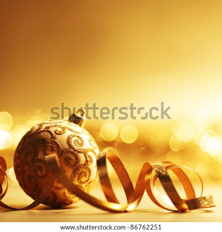 golden christmas ball background - stock photo