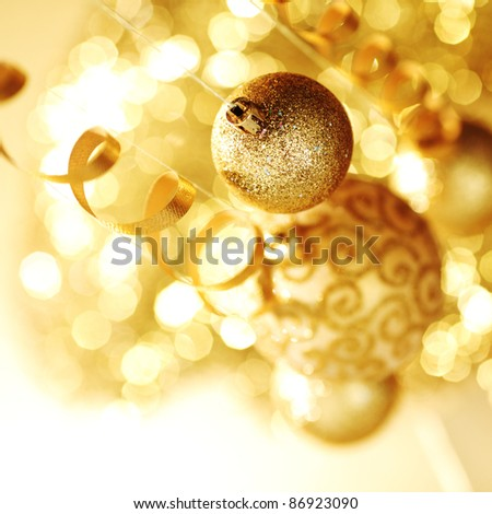 golden christmas ball background - stock photo