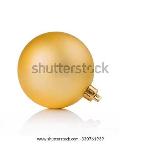 golden christmas ball for ornamental christmas, isolated on white background - stock photo