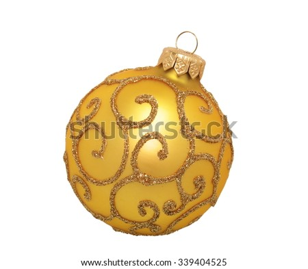 golden christmas ball, isolated on white background - stock photo