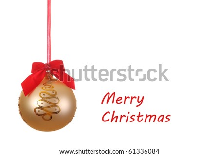 Golden Christmas ball with red ribbon on white background
