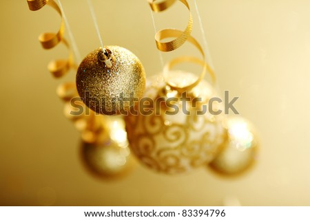 golden christmas balls - stock photo