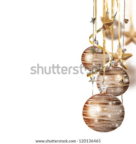 Golden christmas balls isolated on white background - stock photo