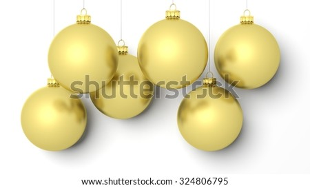 Golden Christmas balls, isolated on white background.