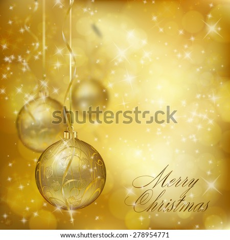 Golden Christmas balls on abstract gold background. Xmas greeting card. Raster illustration