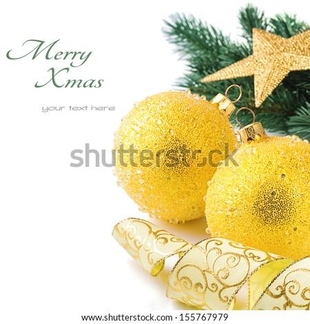 Golden Christmas balls on festive background  - stock photo