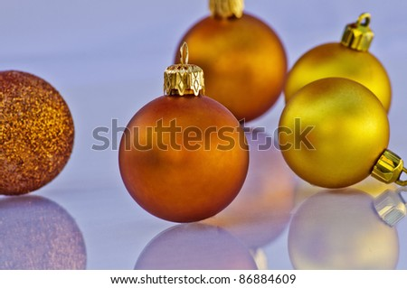 Golden christmas balls with great colors and reflection
