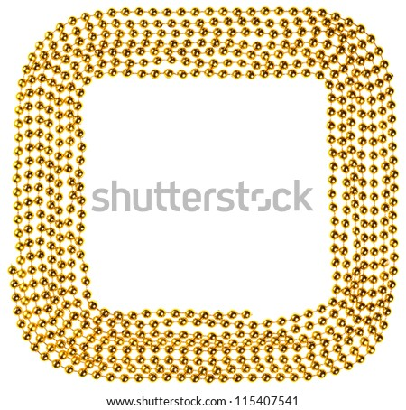 Golden Christmas beads garland decoration frame - stock photo