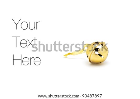 Golden Christmas Bell, isolated on white, copy space - stock photo