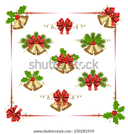 Golden Christmas bells, holly berry and fir tree branches on white background, illustration. - stock photo