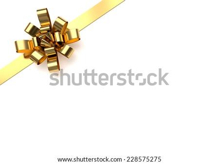 Golden christmas bow - stock photo