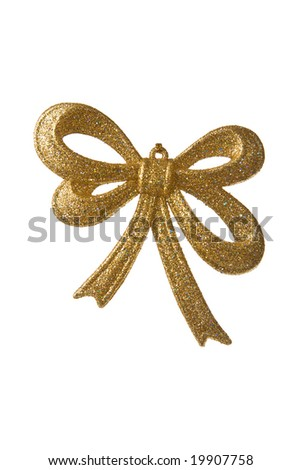 golden christmas bow isolated. holiday background