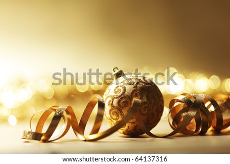 golden christmas card - stock photo