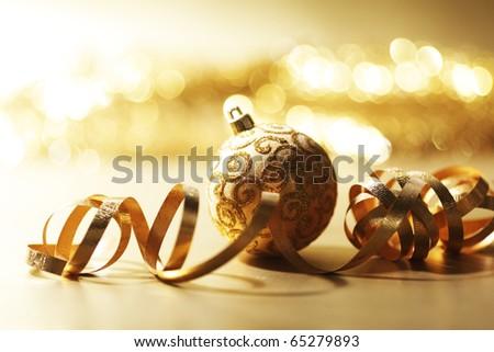 golden christmas card - stock photo