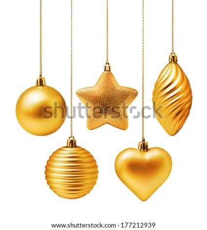 Golden Christmas decoration elements isolated on white background - stock photo