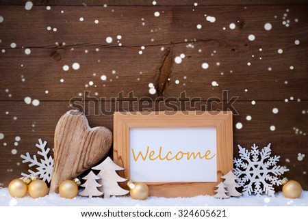 Golden Christmas Decoration On Snow. Heart, Christmas Tree Balls, Snowflakes, Christmas Tree. Picture Frame With English Text Happy Weekend. Rustic, Vintage Brown Wooden Background.