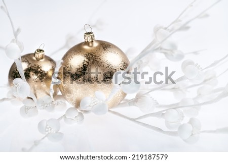 Golden Christmas decorations on white background