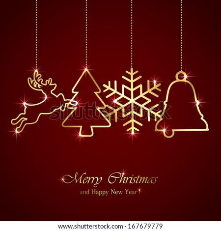 Golden Christmas elements on red background, illustration. - stock photo