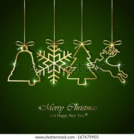 Golden Christmas elements on seamless green background, illustration. - stock photo