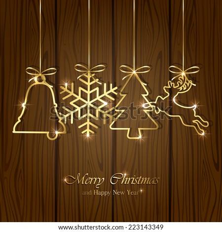 Golden Christmas elements on wooden background, illustration. - stock photo