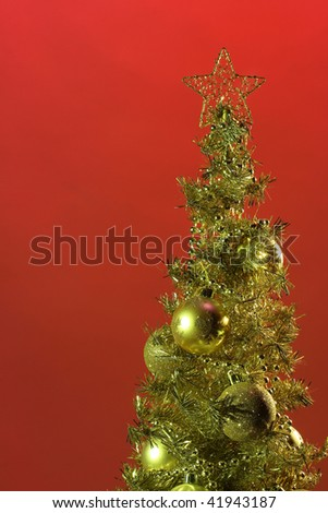 golden christmas fur-tree