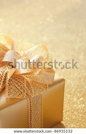 Golden christmas gift - stock photo