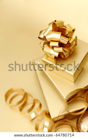 golden christmas gifts - stock photo