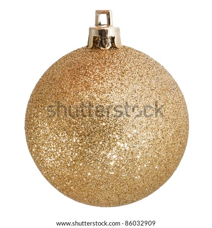 Golden christmas gold on white background - stock photo