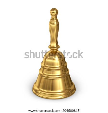 Golden Christmas hand bell isolated on white