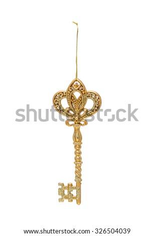 Golden Christmas  hanging festive decoration key isolated on the white - stock photo