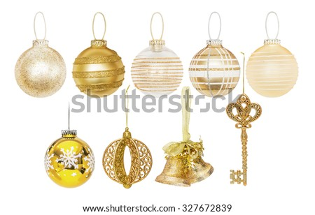 Golden Christmas New Year baubles for Christmas tree, pine, spruce, balls, key, bells isolated on white - stock photo