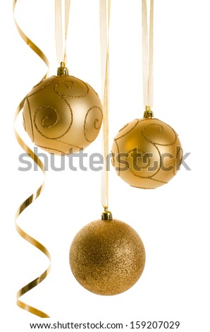 Golden Christmas Ornaments isolated on white background.