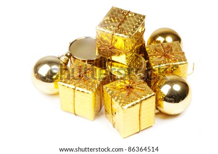golden Christmas presents on a white cutout background