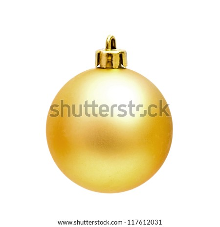 Golden Christmas sphere on the white - stock photo