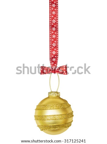 Golden Christmas sphere with red ribbon and bow isolated on the white  - stock photo