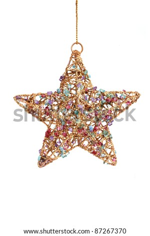 Golden christmas star decoration, isolated on white - stock photo