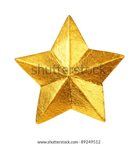golden christmas star ornament isolated on white - stock photo