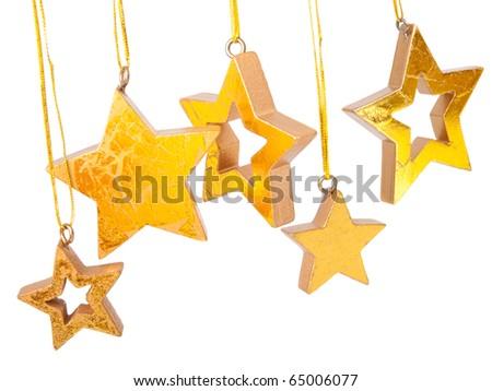 Golden Christmas stars, isolated on white background - stock photo