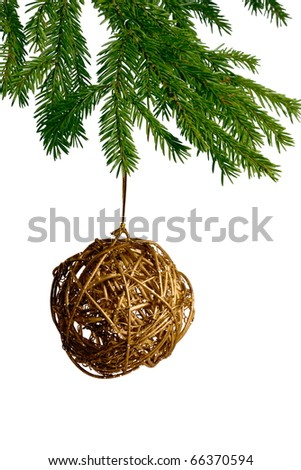 golden christmas toys,which hang on fir tree - stock photo