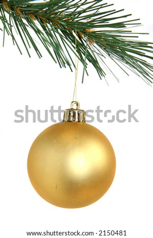 Golden christmas tree hanging from Christmas tree