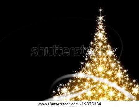 Golden Christmas tree on black background - stock photo