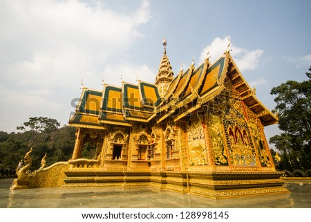 golden  church wat phrabahtseeroy chiangmai Thailand - stock photo