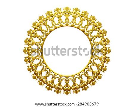 golden circle frame - stock photo